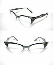 Women's Cat Eye 50s Vintage Eye Glasses Black Clear gold Rhinestone small Pin Up