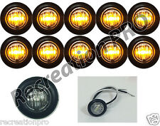 "10 NEW 3/4"" CLEAR/AMBER LED CLEARANCE MARKER BULLET LIGHTS W/BLACK TRIM RING"