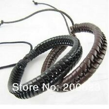 MENS 2 PACK BLACK/BROWN BRAIDED LEATHER CUFF BRACELETS