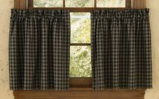 UNLINED TIER CURTAINS 72WX24L STURBRIDGE BLACK TAN PLAID 100% COTTON