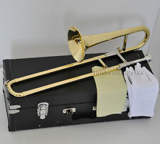 Top Gold Bb Slide Trumpet horn Mini Trombone horn new with FREE leather case