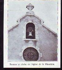 1934  --  FRONTON ET CLOCHE EGLISE LA PLENELIERE  D058