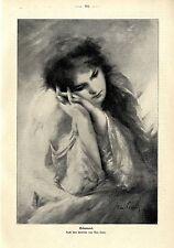 Der deutsche  Maler Max Levis Träumerei Frauenbildnis Histor. Kunstdruck 1903