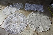 Vintage lace eyelet doilies doily lot of 4 white cream round