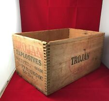 VINTAGE COLLECTIBLE TROJAN  EXPLOSIVE CHEMICALS  WOODEN CRATE BOX EMPTY