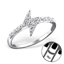 925 Sterling Silver Midi Ring Clear CZ Thunder Lightning Bolt US Size 3.5