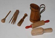 Holz Puppenstuben Zubehör Nudelholz  Wasserkanne Stößel Fleischklopfer Schaufel