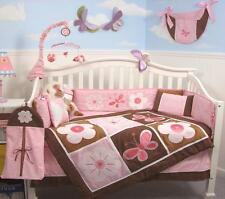 SoHo Pink & Brown Floral Garden Baby Crib Bedding Set 13 pcs included Diaper Bag