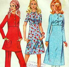 "Vintage 70s DRESS Tunic & Pants Sewing Pattern Bust 36"" Sz 12 RETRO Midi EVENING"