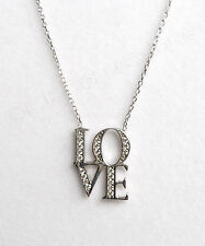 LOVE Cubic Zirconia Letter Pendant Necklace 925 Sterling Silver NEW Gift Box