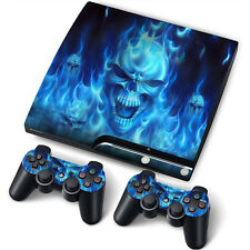 PS3 Slim PlayStation 3 Slim Skin Stickers PVC 4 Ps3 & 2 Pads *Blue Fire*