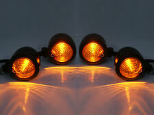 4pc Black Motorcycle Turn Signals LED Bullet Blinker Amber Indicator Light +Gift