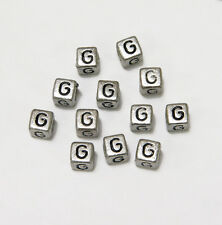 "6mm Silver Metallic Alphabet Beads Black Letter ""G"" 100pc"