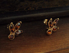 Vintage Navette/ Marquise Topaz Amber Crystal Pierced Earrings