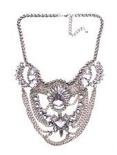 Allison Layered Chrome Chain & Diamanté Feature Bib Statement Necklace(Ns15)