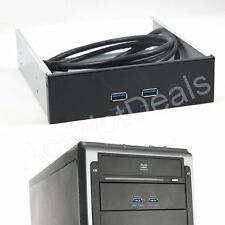 "5.25"" Floppy Disk Bay Hub Bracket Cable 20 Pin 2 Port USB 3.0 Front Panel"