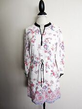 TWELFTH STREET BY CYNTHIA VINCENT~WHITE FLORAL DRAWSTRING TUNIC DRESS~M~EUC BC