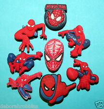 8 SPIDERMAN Shoe Charms Cake Decorations Party Favours Cupcake Toppers GIFT NEW