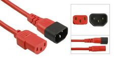 Power Extension Cable IEC C14 Male Plug to IEC C13 Female Socket Red 2m 2 metres
