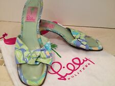 Lilly Pulitzer 8 M Womens Lime Green Blue Kitten Heels Shoes Open Toe Slides