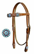 WESTERN BLING! SHOW HORSE BRIDLE HEADSTALL WITH 7' SPLIT REINS & SILVER - MEDIUM