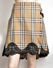 Burberry London Nova Check Knee-Length Wool Kilt/Pleated Skirt Lace Trim Sz 12