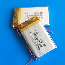 2pcs 3.7v 400mAh lipo  battery 402540 for mp3 DVD GPS headphone bluetooth