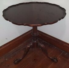 """Vintage maybe Antique IMPERIAL 28"""" Mahogany Pie Crust Parlor Table w CLAW Feet"""