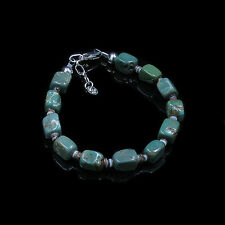 .925 Sterling Silver Natural Green Kingman Turquoise Block Clam Shell Bracelet