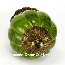 2 Peridot Glass Cabinet Knobs Cupboard Drawer Pulls Kitchen Handle #K185FF-AB