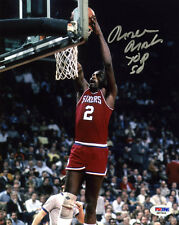 Moses Malone SIGNED 8x10 Photo + Top 50 Philadelphia 76ers PSA/DNA AUTOGRAPHED
