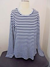 Eddie Bauer Knit Top Womens 2X Blue White Striped Scoop Neck Long Sleeve