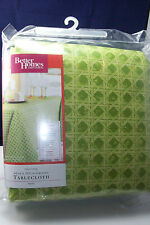"BETTER HOMES AND GARDENS CLASSIC CANING 60"" X 102"" OBLONG GREEN TABLECLOTH NEW"