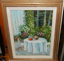 M.I. TAYLOR PATIO GARDEN TABLE ORIGINAL OIL ON CANVAS PAINTING