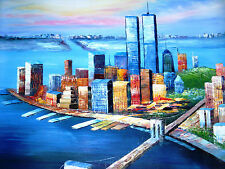 New York City Manhattan Bridge Oil Painting Canvas 20 x 24 Decorated Wall Art