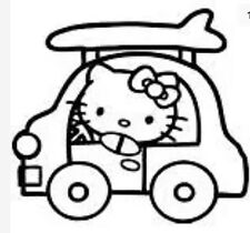 Hello Kitty Surfboard Surfer Surf Longboard Sticker  Bug window Car Pick Color