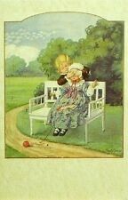 Pauli Ebner Postcard Vintage Style Boy Girl Bench Children