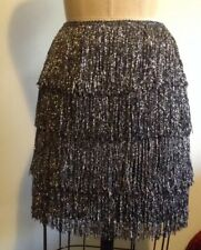 H&M Silver Tinsel Fringe Black Mini Skirt Holiday Party Perfect! Sz 6 36 NWT