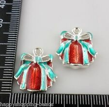 2pcs Enamel Christmas Gift Charms Pendants 17x20mm   (Lead-free)