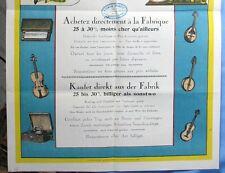 Affiche Manufacture d'Instruments de Musique/ BERGHEIM / Germain Bénazet/ CA1900
