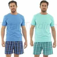 Mens Check Shorts & T-Shirt Pyjamas Set Short Sleeve Summer Pjs Pyjamas HT341