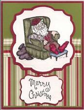 Santa Resting Retired (U get photo #2L@@K@examples Art Impressions Rubber Stamps