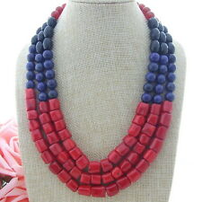 H102308 3 Strands 19'' Onyx Red Coral Agate Lapis Necklace