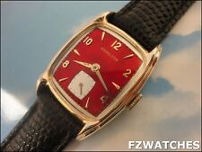 Exquisite Vintage1951 Mans Hamilton *DARRELL* Hand Winding Red Dial SERVICED!