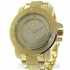 MENS ICED OUT GOLD CAPTAIN BLING ICE NATION HIP HOP WATCH WITH METAL BAND