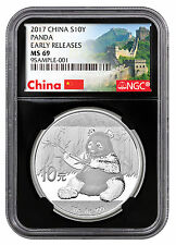 2017 China 10Y 30g Silver Panda NGC MS69 ER Great Wall / Black PRESALE SKU43855