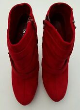 ~New~ Shi by Journeys, Crystal Red Boots, Soft Faux Suede 3 inch Heels Size 7.5M