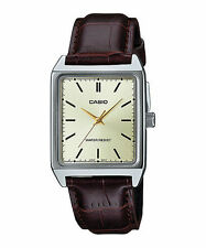Casio Men's Analog Quartz Stainless Steel Brown Leather Watch MTPV007L-9E
