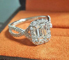 New 1.55 Ct Halo Pave Emerald Cut Diamond Twist Shank Engagement Ring E,VS2 GIA