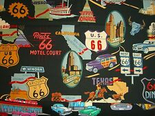 Route 66 Classic Hot Rod Cars Red Corvette Chevy Map Robert Kaufman On the Road